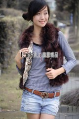 Fox Fur Vest with Racoon Fur Collar