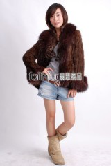 Mink Fur Knitted Jacket with Racoon fur trimmed
