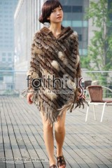 Hooded Rabbit Fur Knitted Cape
