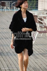 Rex Rabbit Fur Knitted Cape/Wrap