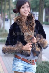 Rex Rabbit Fur Cape with Racoon Fur trimmed
