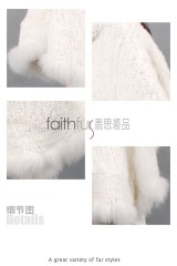 Rex Rabbit Fur Knitted Cape with Fox Fur Trimmed