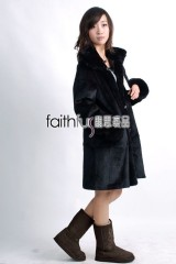Sheared Rabbit Fur Overcoat (Reversible)