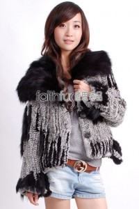 Rabbit Fur Knitted Jacket with Fox Fur collar
