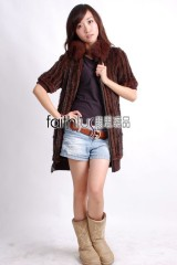 Mink Fur and Rabbit Fur Blended Kintted Vest with Fox fur collar