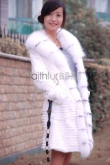 Sheared Rabbit Fur Overcoat with Fox Fur Trimed