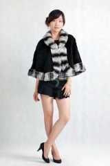 Sheared Rabbit Fur Cape with Chinchilla Fur trimmed
