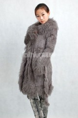 Rabbit Fur Knitted Jacket with Tibet Sheep Fur trimmed