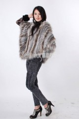 Hooded Rabbit Fur Knitted Cape with Racoon Fur trim