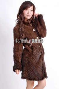 3/4 Length Knitted Mink Fur Long Overcoat