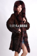 Hooded Knitted Mink Fur Long Coat with Fox fur trimmed