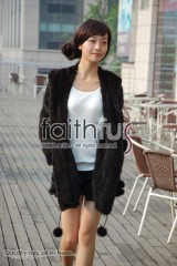 Hooded Mink Fur Knitted Jackets