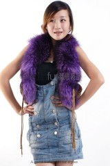 Racoon Fur Vest with Kid Lamb and Sheep skin