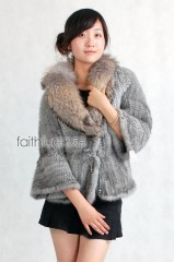 Sapphire Mink Fur Knitted Jacket with Racoon fur collar