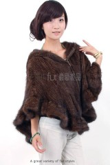 Hooded Mink Fur Knitted Cape
