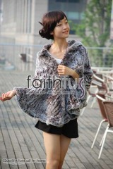 Rex Rabbit Fur Knitted Cape/Poncho