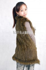 Rabbit Fur Knitted Vest with Racoon Fur trimmed