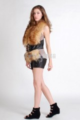 Racoon Fur Vest with Sheep skin integrated