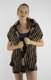 Mink Fur Knitted Scarf Stole Shawl
