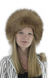 Women Fox Fur Russian Headband Hat Cap with Hat Pom-Poms