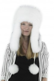 Women Winter Real Fox Fur Russian Mongolian Hat with Earflaps PomPom