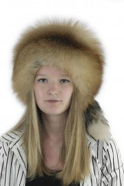 Women Winter Real Fox Fur Russian Davy Crockett Hat with Tail