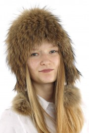 Women Winter Real Raccoon Fur Beanie Hat Cap with Long Pompom