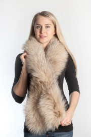 Ladies Winter Real Fox Fur Scarf Stole Shawl Muffler Light Brown
