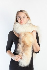 Ladies Winter Real Fox Fur Scarf Stole Shawl Bleached
