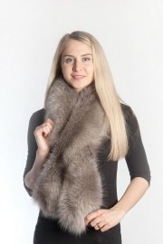 Ladies Winter Real Fox Fur Scarf Stole Shawl Muffler Gray Fox