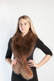 Ladies Winter Real Fox Fur Scarf Stole Shawl Brown