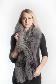 Ladies Winter Real Fox Fur Scarf Stole Shawl Muffler Gray Sliver Fox