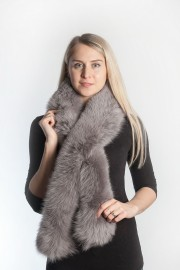 Ladies Winter Real Fox Fur Scarf Stole Shawl Muffler Gray