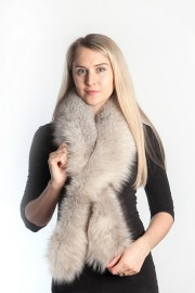 Ladies Winter Real Fox Fur Scarf Stole Shawl Muffler Light Gray
