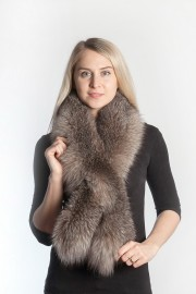 Ladies Winter Real Fox Fur Scarf Stole Shawl Muffler Dark Brown
