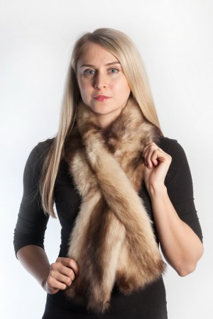 Ladies Winter Real Fitch Polecat Fur Scarf Stole Shawl Muffler Golden