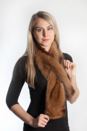 Ladies Winter Real Fitch Polecat Fur Scarf Stole Shawl Muffler Brown