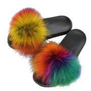 Real Raccoon Slippers Fluffy Multicolor Slides