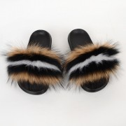 Sandwich Color Women Fluffy Real Fox Fur Slippers Slides Sandals
