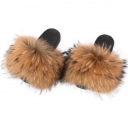 Womens Fluffy Furry raccoon Slides Multicolor Fur Slides
