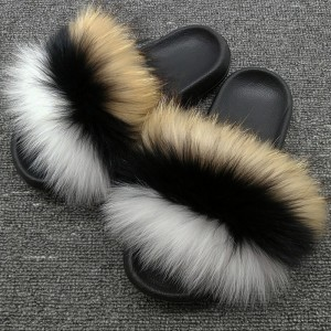 Multicolor Fur Slides Womens Real Fox Fur Slippers Raccoon Fur Slippers