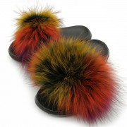 Colorful Slides Women Fluffy Real Raccoon Fur Slippers