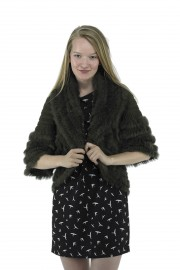 Polyester/Cotton blend and real rabbit fur trim collar cardigans