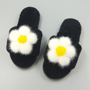 New Product High Quality Cashmere Fur Slippers Accessories Mink Fur Flower Fur Slippers Ladies Go Out Warm Slippers