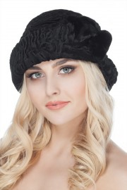Black Karakul Astrakhan Hat Fur Bucket Hat