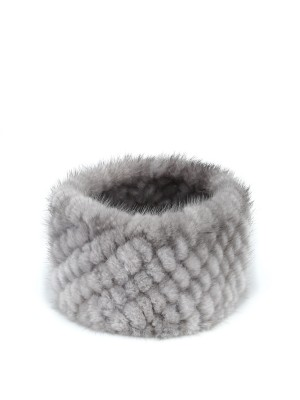 Natural Gray Headband Knitted Mink Fur Hairband Knitted Scarf