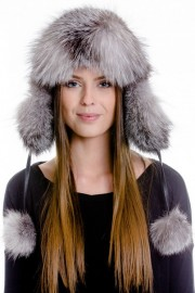 Real Fox Fur Leather Trapper Hat with Pom Pom
