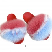 Womens Colorful Real Racoon Fur Slides Soft Raccoon Fur Slippers Fluffy Slides