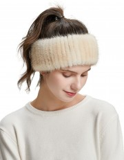 Natural women winter headbands Knitted Real Mink Fur Hairband Knitted Scarf