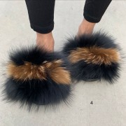 Fluffy Slides Natural Raccoon Slippers Furry Raccoon Slides